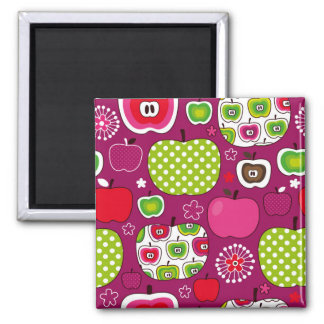 An apple a day square magnet