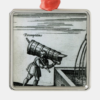 An apprentice fetching water from a fountain christmas ornament