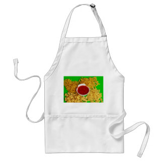 an apron with a photo of pasta with red sauce