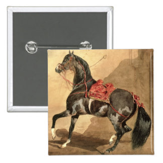 An Arabian Horse (w/c laid down on paper) 15 Cm Square Badge