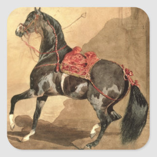 An Arabian Horse (w/c laid down on paper) Square Sticker