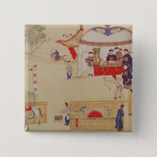 An archery contest, late 18th century 15 cm square badge