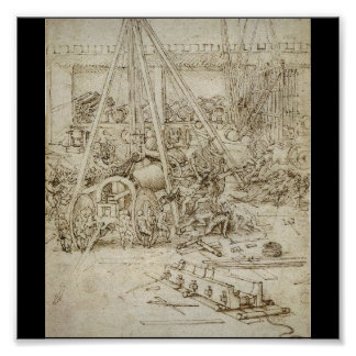 An Artillery Park (c. 1487) by Leonardo da Vinci Poster