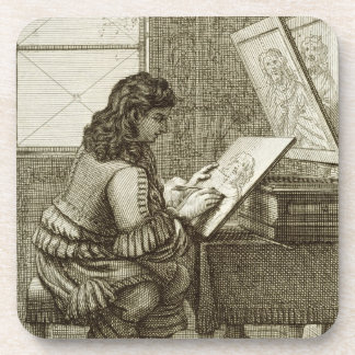 An artist copying onto an engraving plate, printed drink coasters