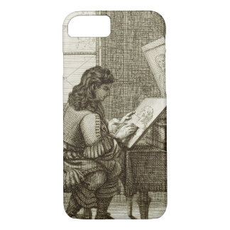 An artist copying onto an engraving plate, printed iPhone 8/7 case