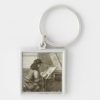 An artist copying onto an engraving plate, printed key chains