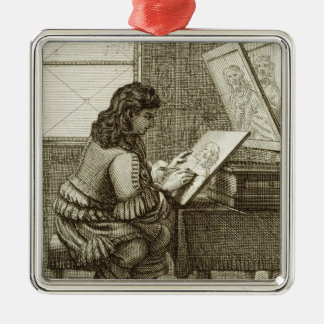 An artist copying onto an engraving plate, printed Silver-Colored square decoration