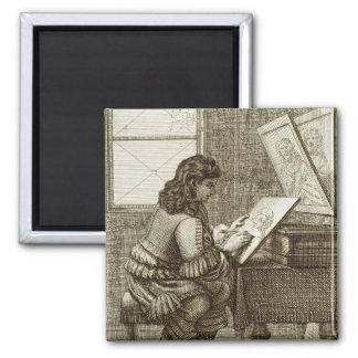 An artist copying onto an engraving plate, printed square magnet