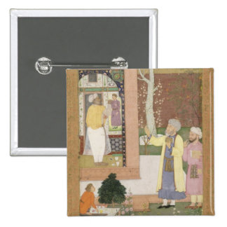 An artist decorating the interior of a garden pavi 15 cm square badge