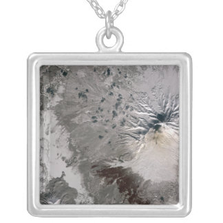 An ash rich plume rises silver plated necklace