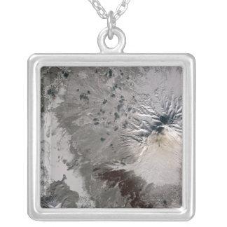 An ash rich plume rises square pendant necklace