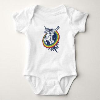 An astronaut riding a uncorn through a rainbow infant creeper