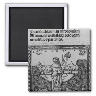 An Astronomer stargazing Square Magnet