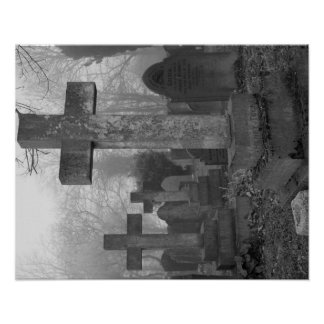 An atmospheric image of a misty graveyard poster