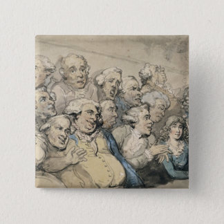 An Audience at Drury Lane Theatre (pen & ink and w 15 Cm Square Badge