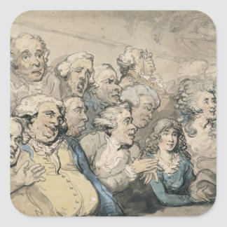 An Audience at Drury Lane Theatre (pen & ink and w Square Sticker