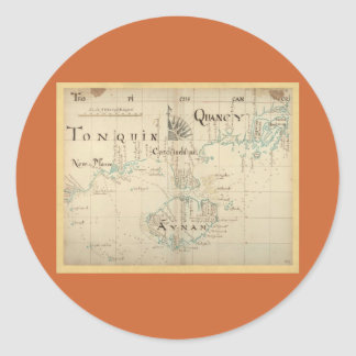 An Authentic 1690 Pirate Map Classic Round Sticker