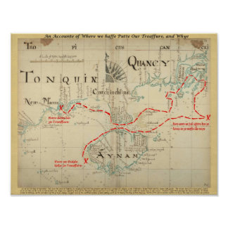 An Authentic 1690 Pirate Map with embellishments Print