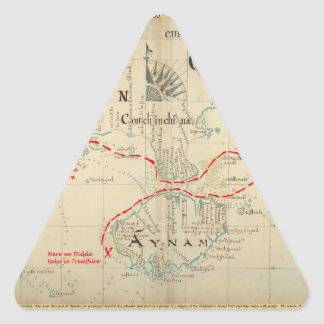 An Authentic 1690 Pirate Map (with embellishments) Triangle Sticker