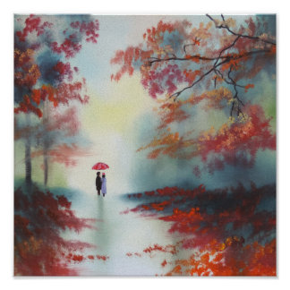 an autumn walk on a rainy day by Gordon Bruce Poster