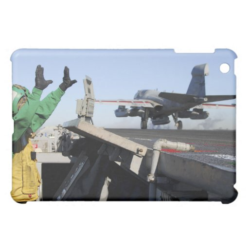 An EA-6B Prowler launches from the flight deck Cover For The iPad Mini