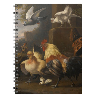 An Eagle, a Cockerell, Hens, a Pigeon in Flight Spiral Notebook