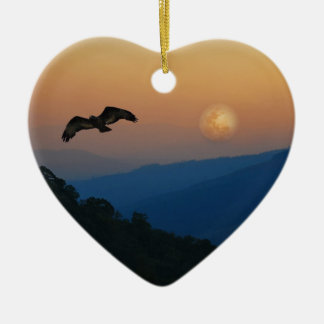 An eagles ascent ceramic heart decoration
