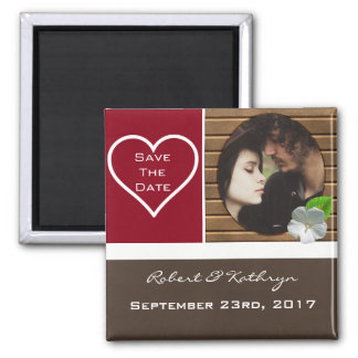 """An Earthy Elegance """"Save the Date"""" Wedding Square Magnet"""