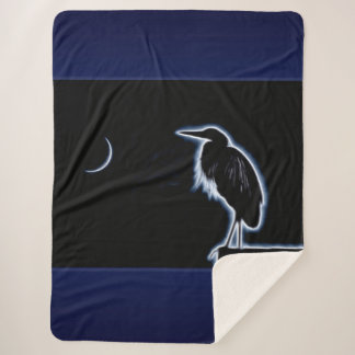 An Electric Blue Heron-Midnight Blue Background Sherpa Blanket