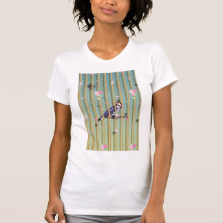 An Elegant Bird in Cage with Flower Graphic T-Shirt