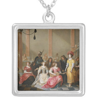 An Elegant Company at Music Before a Banquet Silver Plated Necklace