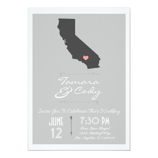 An Elegant Grey California Wedding Invitation