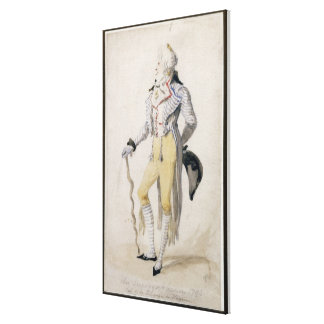 An Elegant Male Figure, 1793 (pencil and w/c on pa Canvas Print