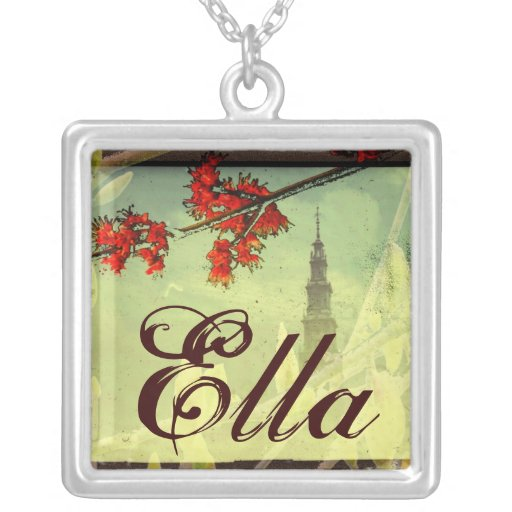 An Elegant Name Pendant with Red Flowers