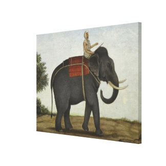 An Elephant Keeper Riding His Elephant (1825) Canvas Print