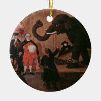 An Elephant Shown in Venice (oil on canvas) Round Ceramic Decoration