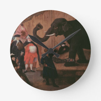 An Elephant Shown in Venice (oil on canvas) Round Clock