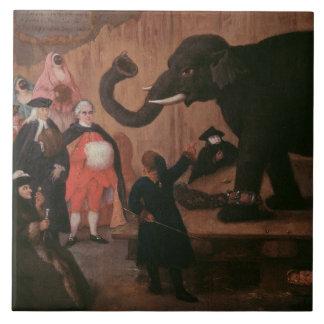 An Elephant Shown in Venice (oil on canvas) Tile