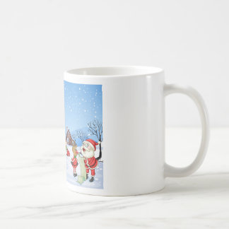 An elf above the house in the snowy land with tree basic white mug