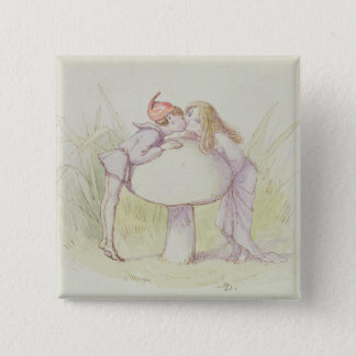 An Elf and a Fairy 15 Cm Square Badge