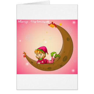 An elf and a moon greeting card