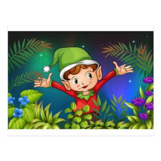 An elf at the garden postcard