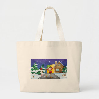 An elf enjoying the snow jumbo tote bag