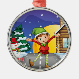 An elf enjoying the snow Silver-Colored round decoration