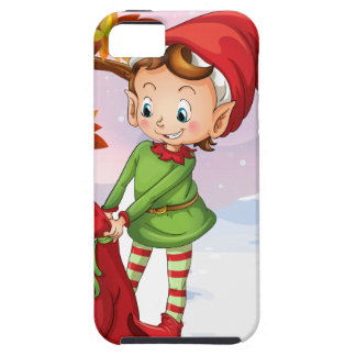 An elf holding a bag of gifts iPhone 5 covers