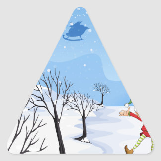 An elf in a snowy place triangle sticker