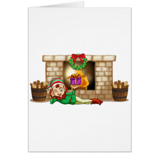 An elf in front of the fireplace greeting card