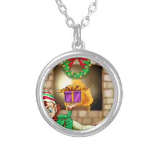 An elf in front of the fireplace round pendant necklace