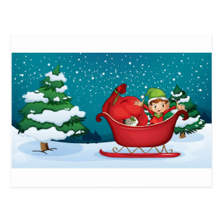 An elf riding on a sleigh with a sack of gifts postcard
