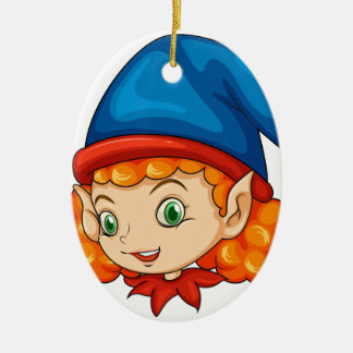 An elf wearing a blue hat ceramic oval decoration